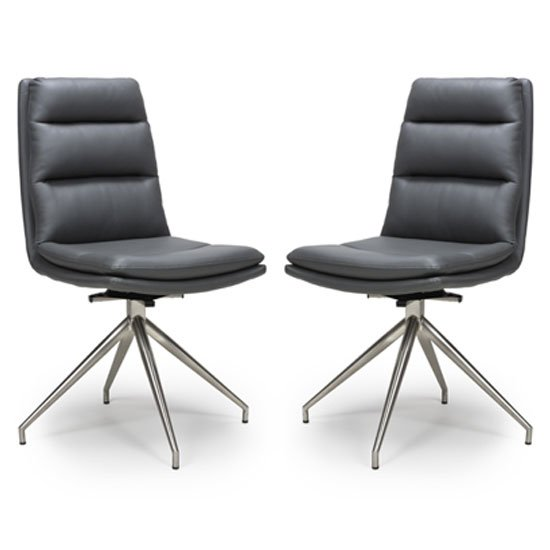 Nobo Grey Faux Leather Dining Chair In A Pair With Steel Legs