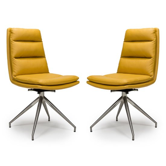 Nobo Ochre Faux Leather Dining Chair In A Pair With Steel Legs
