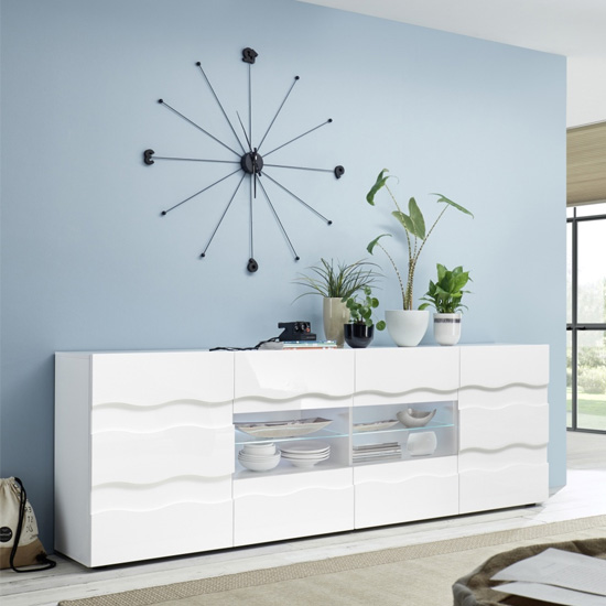 Nod Wooden Sideboard In White High Gloss With 2 Doors 4 Drawers