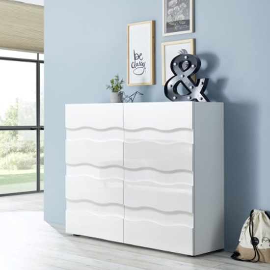 Nod Wooden Sideboard In White High Gloss With 2 Doors