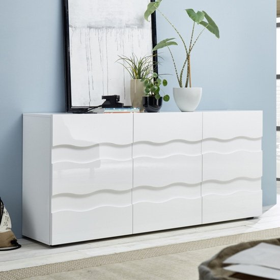Nod Wooden Sideboard In White High Gloss With 3 Doors