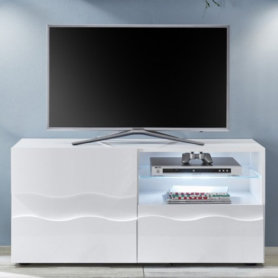 Nod Wooden TV Stand In White High Gloss With 2 Doors 1 Shelf