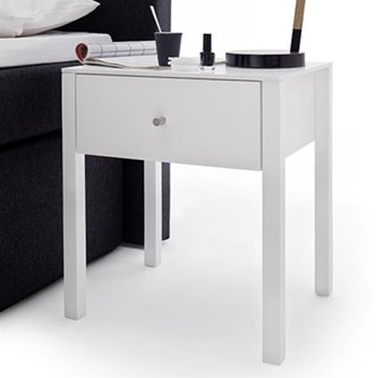 Matis Tall Wooden Bedside Cabinet In White Gloss With 1 Drawer
