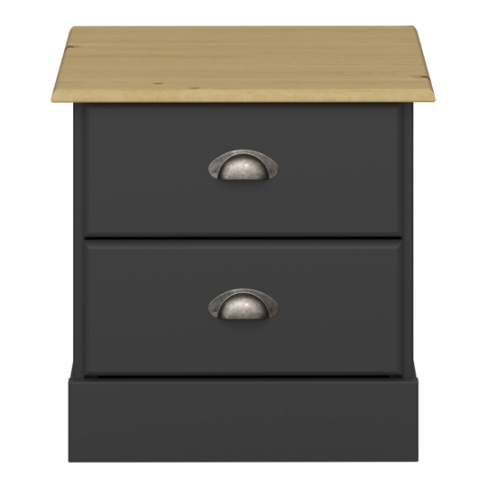 Nola Wooden Bedside Cabinet In Black And Pine With 2 Drawers_2
