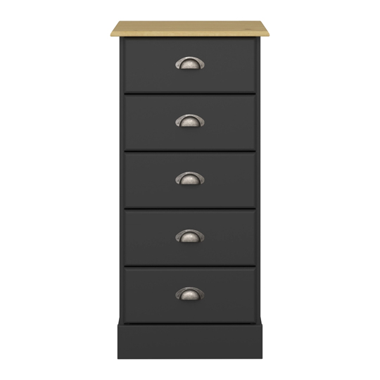 Nola Wooden Chest Of Drawers In Black And Pine With 5 Drawers_2