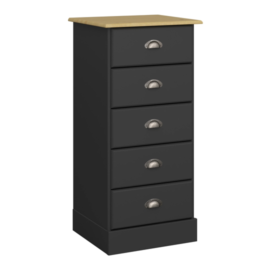 Nola Wooden Chest Of Drawers In Black And Pine With 5 Drawers
