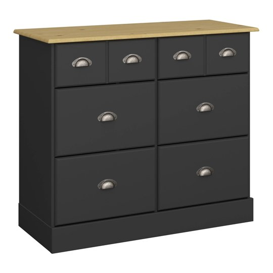 Nola Wooden Chest Of Drawers In Black And Pine With 6 Drawers