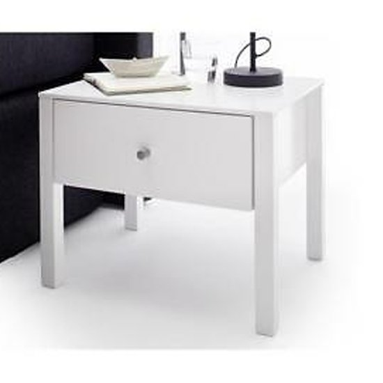 Matis Wooden Bedside Cabinet In White High Gloss With 1 Drawer_1