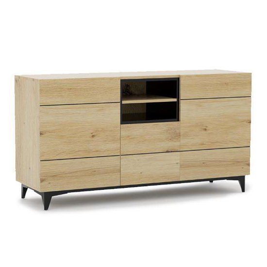 Nomat Large Wooden Storage Cabinet In Artisan Oak And Black