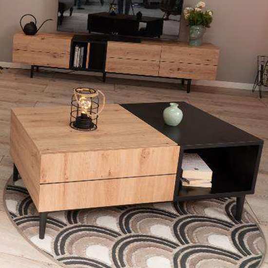 Nomat Wooden 1 Drawer Coffee Table In Artisan Oak And Black