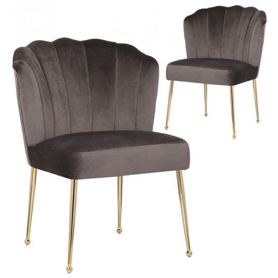 Nora Grey Velvet Dining Chairs In Pair