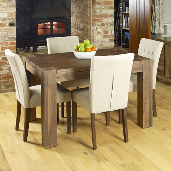Norden Dining Table In Walnut With 4 Biscuit Novian Chairs
