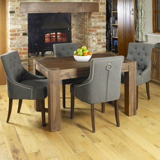 Norden Dining Table In Walnut With 4 Slate Harry Chairs