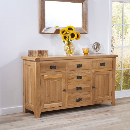Nordin Wooden Sideboard In Oak With 2 Doors And 6 Drawers