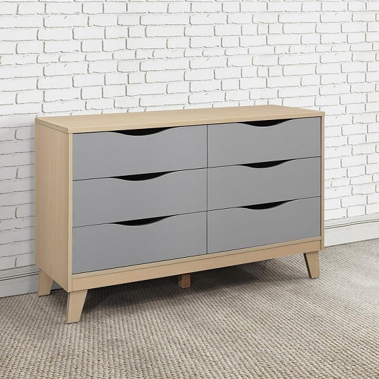 Norell Chest Of Drawers In Beech And Grey With 6 Drawers