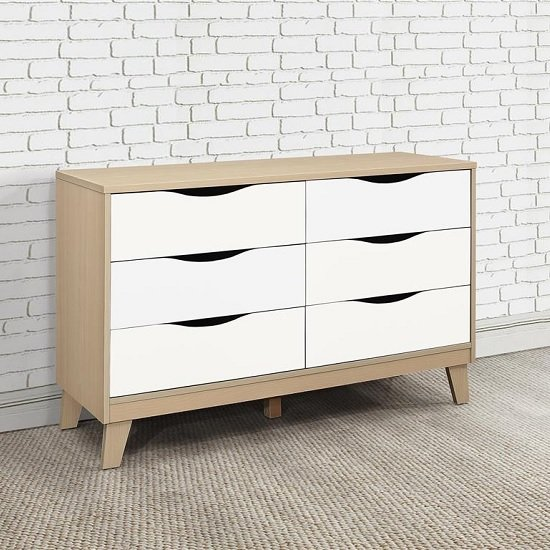Product photograph showing Norell Chest Of Drawers In Beech And White With 6 Drawers