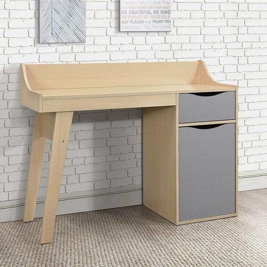 Norell Computer Desk In Beech And Grey With 1 Door And 1 Drawer_1