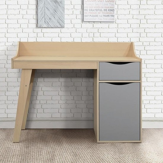 Norell Computer Desk In Beech And Grey With 1 Door And 1 Drawer_2