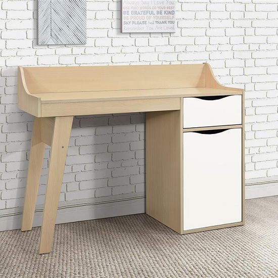 Product photograph showing Norell Computer Desk In Beech And White With 1 Door