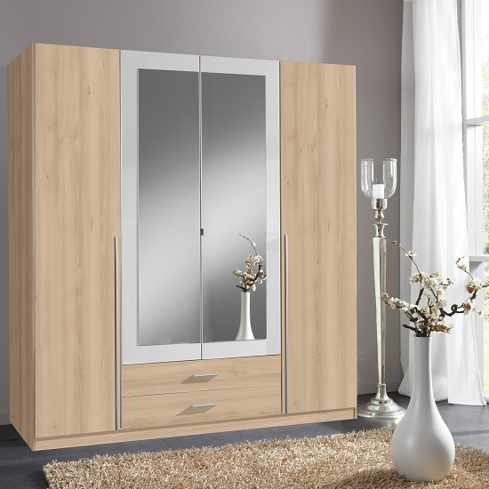 Norell Mirrored Wardrobe Large In Noble Beech Effect And White_1