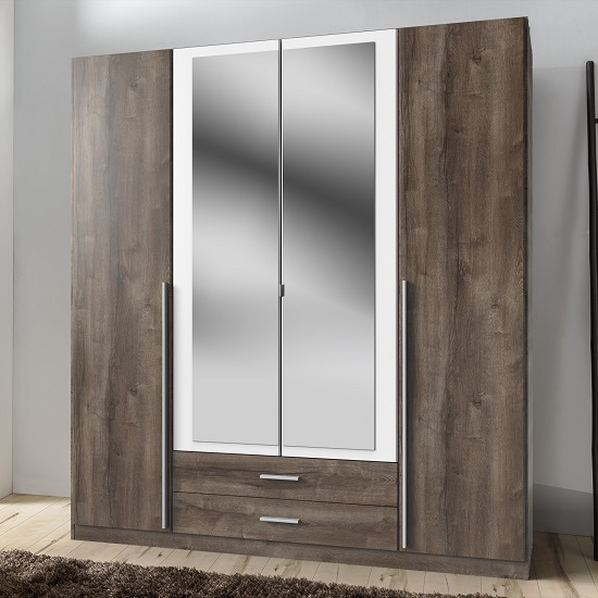 Norell Mirrored Wardrobe Large In Muddy Oak Effect And White