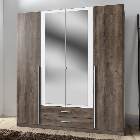 Norell Mirrored Wardrobe Large In Muddy Oak Effect And White_1