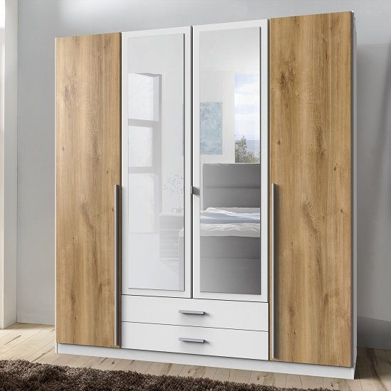 Norell Mirrored Wardrobe Large In White And Planked Oak Effect
