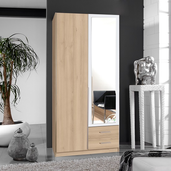 Norell Mirror Wardrobe In Noble Beech Effect And White