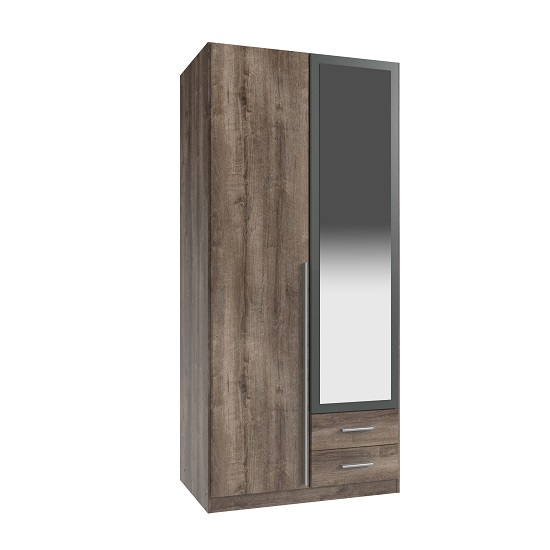 Norell 2 Doors Mirror Wardrobe In Muddy Oak Effect And Graphite