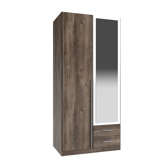 Norell Mirror Wardrobe In Muddy Oak Effect And White With 2 Door