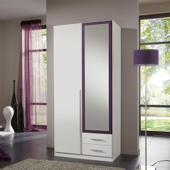 Norell Mirrored Wardrobe In White And Blackberry With 2 Doors
