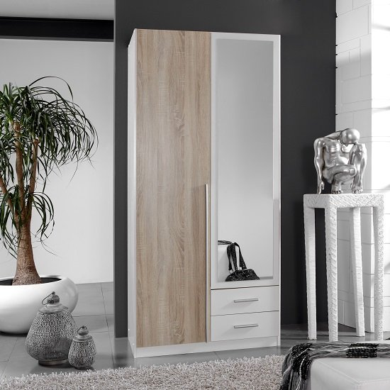 Norell Mirrored Wardrobe In White And Oak Effect With 2 Doors_1