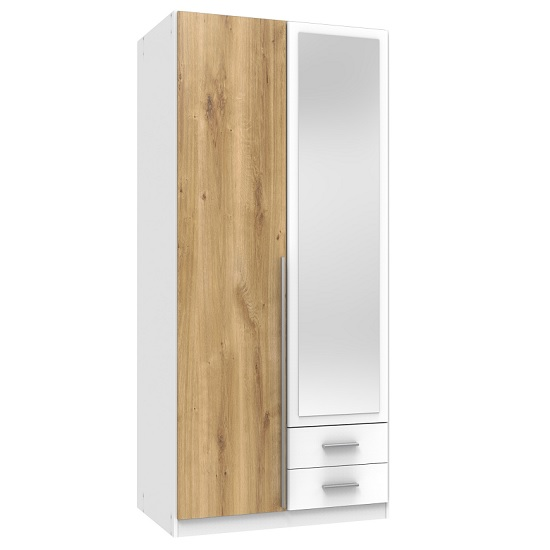 Norell Mirror Wardrobe In White Planked Oak Effect And 2 Doors