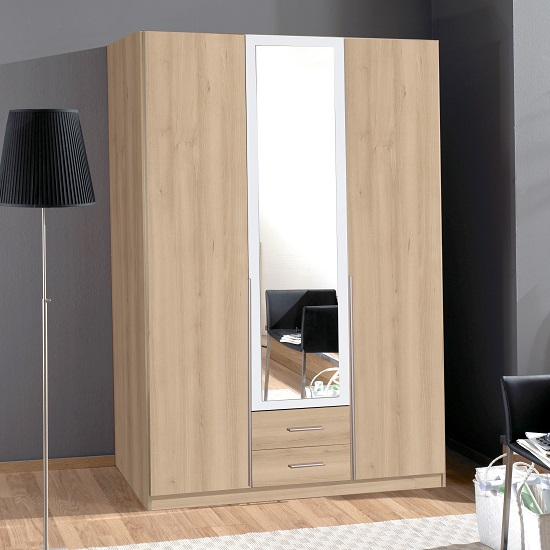 Norell 3 Doors Mirrored Wardrobe In Noble Beech Effect And White