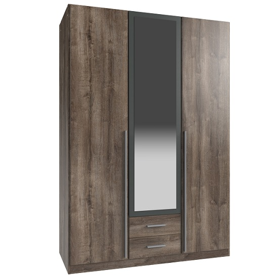 Norell Mirrored Wardrobe In Muddy Oak Effect And Graphite