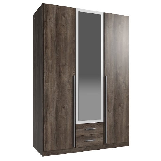 Norell 3 Doors Mirrored Wardrobe In Muddy Oak Effect And White