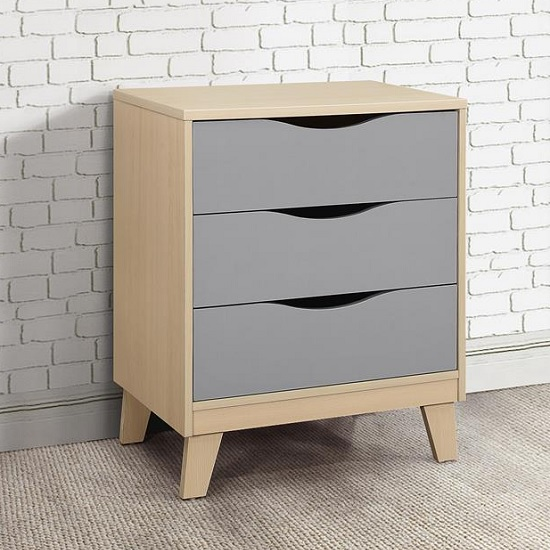 Product photograph showing Norell Chest Of Drawers In Beech And Grey With 3 Drawers