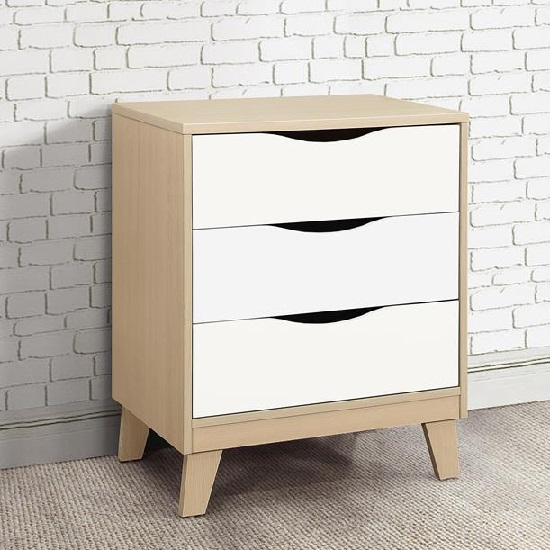 Product photograph showing Norell Chest Of Drawers In Beech And White With 3 Drawers