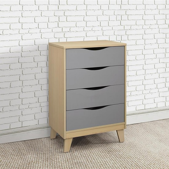 Product photograph showing Norell Chest Of Drawers In Beech And Grey With 4 Drawers