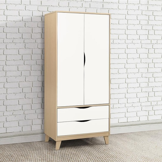 Product photograph showing Norell Wardrobe In Beech And White With 2 Doors And 2 Drawers