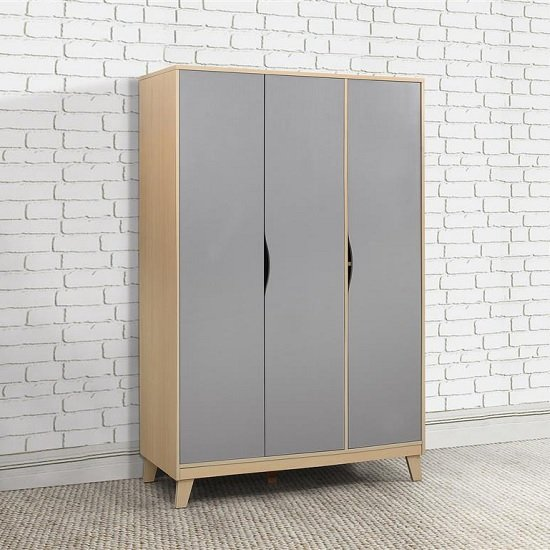 Norell Wardrobe Wide In Beech And Grey With 3 Doors