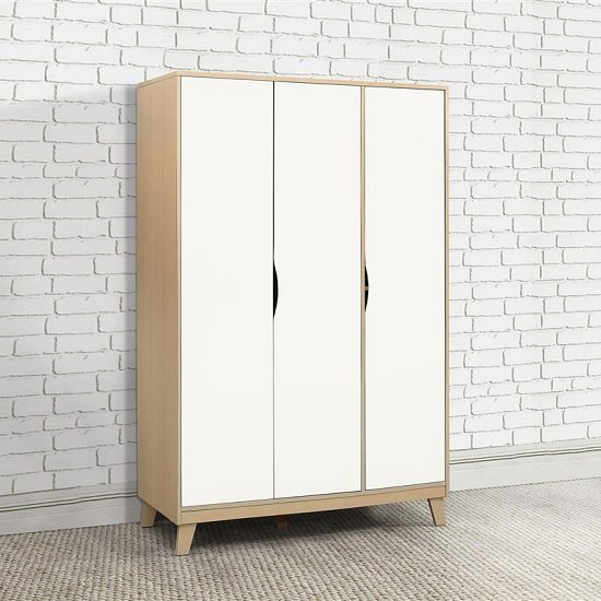 Product photograph showing Norell Wardrobe Wide In Beech And White With 3 Doors