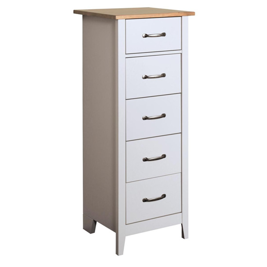 Norfolk Narrow Chest Of Drawers In Pine And Grey With 5 Drawers