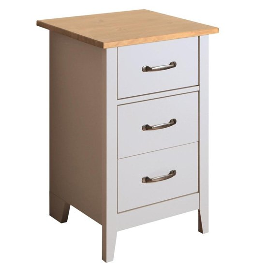 Norfolk Wooden Bedside Cabinet In Pine And Grey