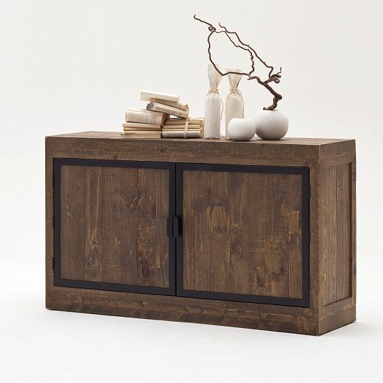 Norfolk Wooden Sideboard Pine Antique Brown Finish With Metal