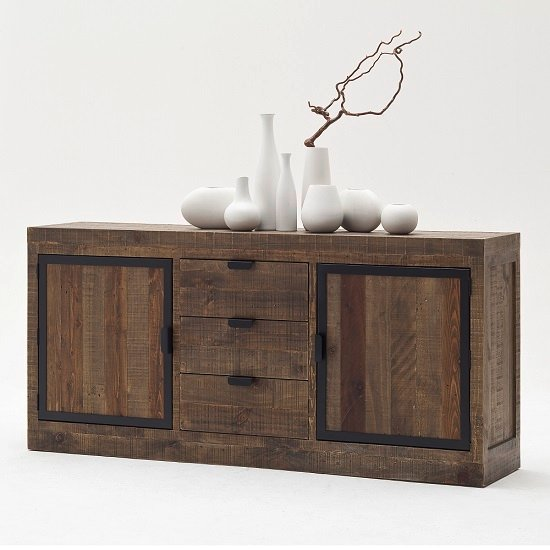 Norfolk Wooden Sideboard With Drawers Pine Antique Brown