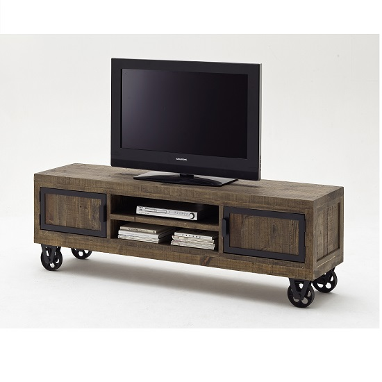 Norfolk TV Stand Pine Antique Brown Finish With Wheels