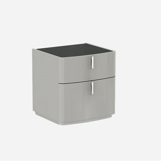 Norman Black Glass Top Bedside Cabinet In Cashmere High Gloss_1