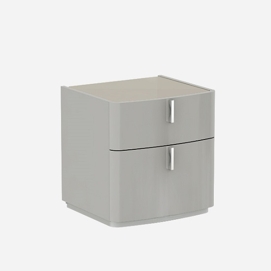 Norman Fango Glass Top Bedside Cabinet In Cashmere High Gloss