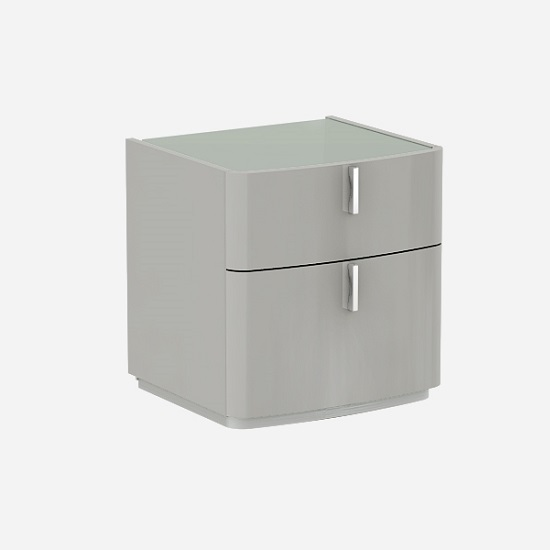 Norman Grey Glass Top Bedside Cabinet In Cashmere High Gloss